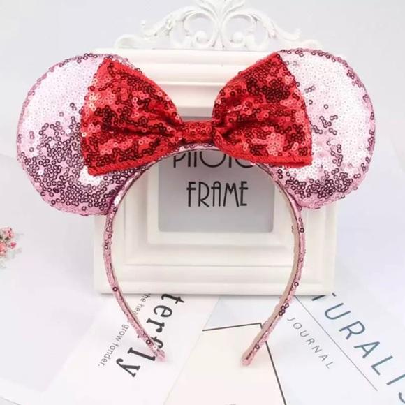 Minnie Mouse Ear Headband Shiny Black Red Bow Sequin Minnie Head Silver Diamond